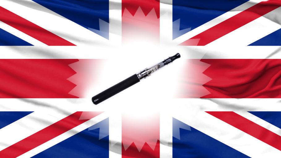 England Flagge mit E-Zigarette